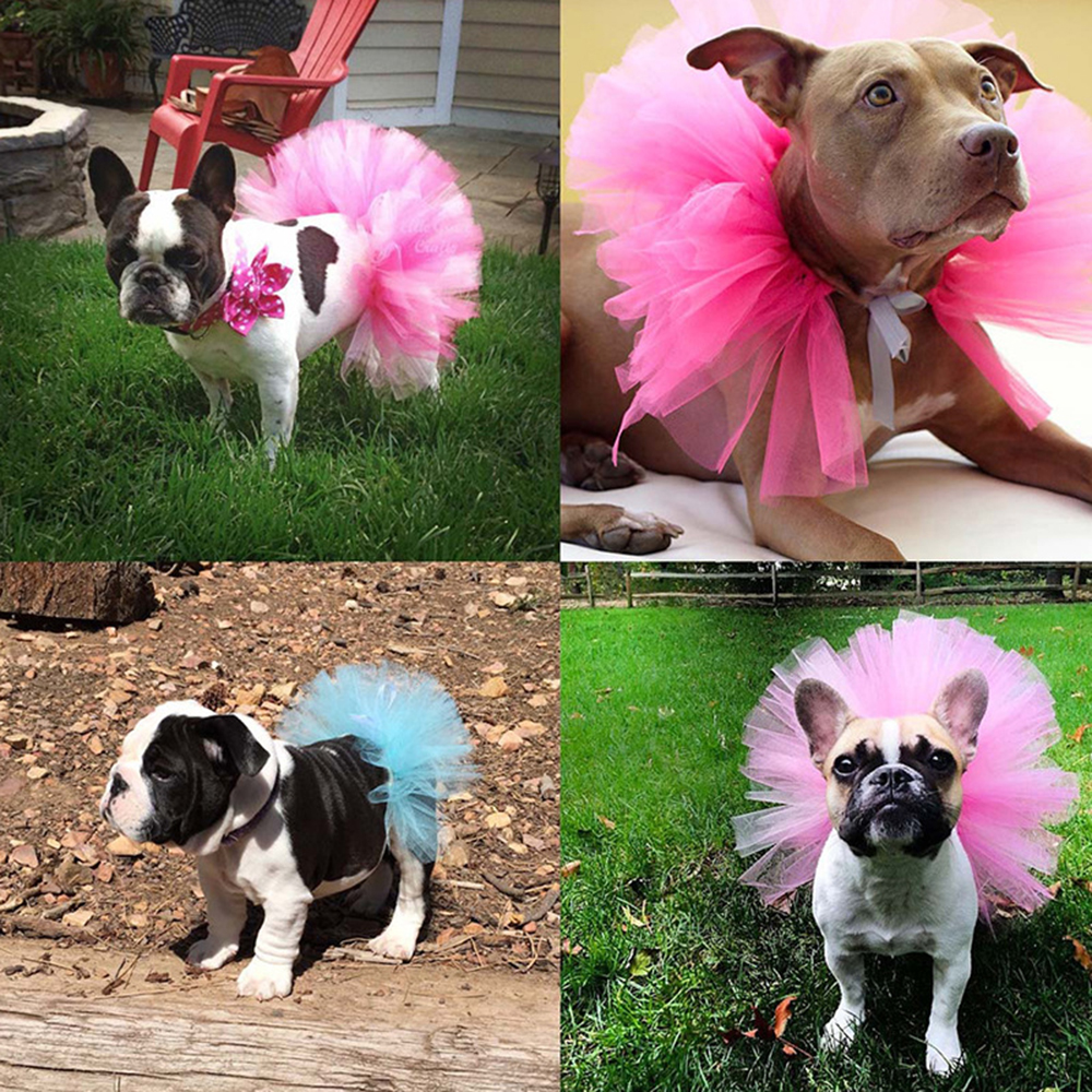 Hot NEW Summer <font><b>Dog</b></font> Tutu Skirt Princess Pet Cat <font><b>Dress</b></font> Soft Tulle Cosplay Bulldog <font><b>Dress</b></font> for Small Pet 5 Color DROPSHIPPING image