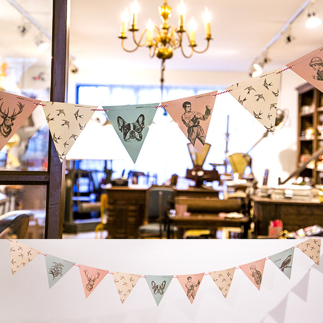 Vintage Style Garland Banners Party Flags Kids Birthday Party
