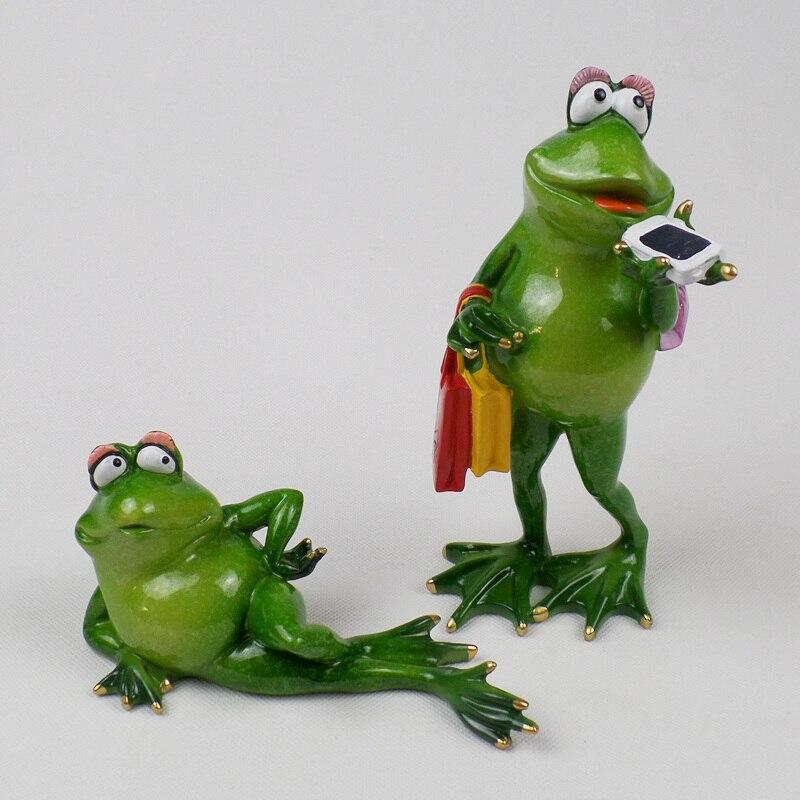 YINGYUE Cute Cartoon Frog Doll Model Solar Power Swinging Toy Car Ornament Home Office Decor Gift Green