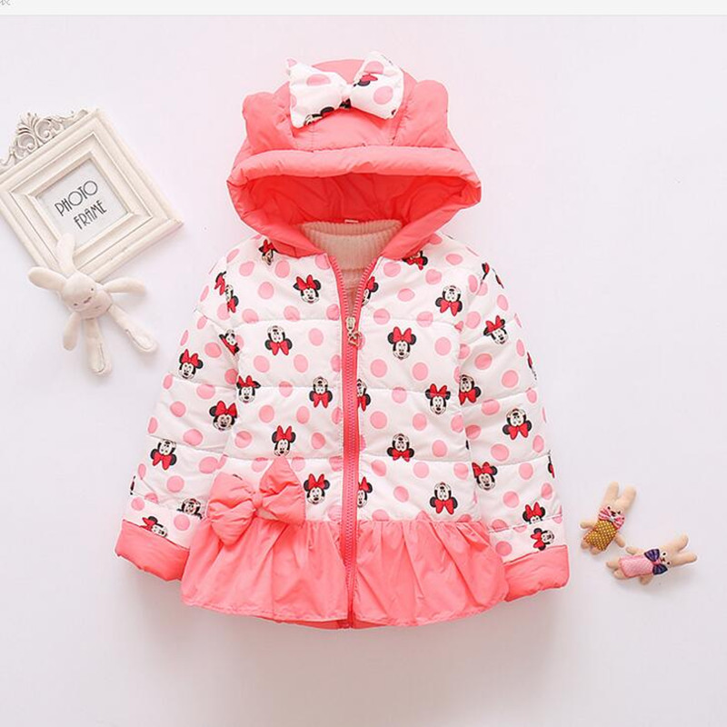 CHCDMP New Minnie Jackets Baby Girl Coat Child Cotton Winter Large Size Casual Hooded Jacket Girls Keeping Warm Outerwear Coats new 2017 men winter black jacket parka warm coat with hood mens cotton padded jackets coats jaqueta masculina plus size nswt015