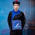 Черный дворец углозащитные офицера единый комплект китай династии цин хеллоуин костюм косплей одежды для мужчин с крышкой
