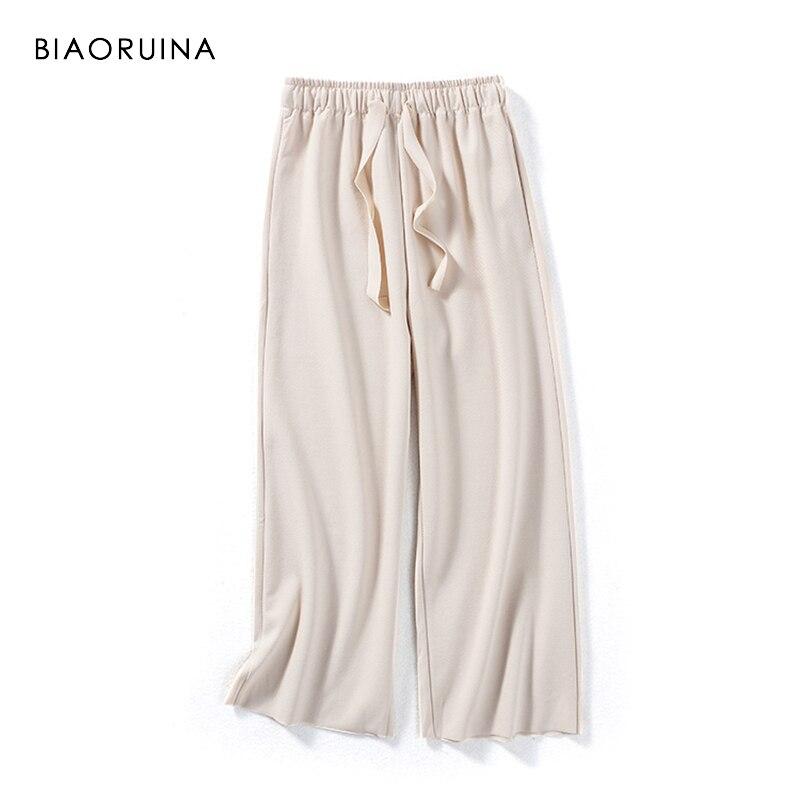 BIAORUINA Women Fashion Solid Loose Ankle-Length   Pant   Female Elastic High Waist   Wide     Leg     Pant   Women's Casual Elegant Trousers