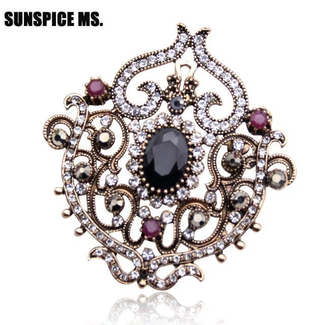 Vintage Women Turkish Flower Brooch Pin Resin Jewelry Rhinestone Brooches  Broches Arabia Paisley Pattern Lapel Hijab 53c49cb0584b