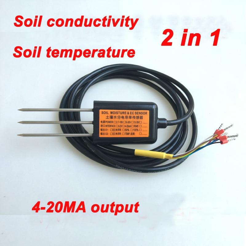 Livraison gratuite EC10 sortie 4-20MA conductivité du sol capteur de température qualité ec conductivité 2IN1