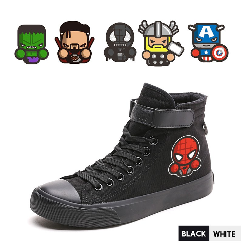 Men's Shoes Painstaking Marvel Superhero Spider-man Captain Hulk Thor High Top Double-layer Canvas Men Velcroshoe Lace Personalise College A193291 Bright In Colour