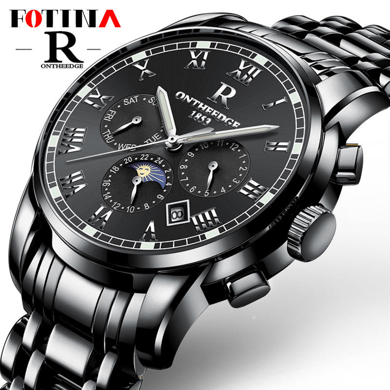 Luxury Men Automatic Mechanical Watch Business Waterproof Male Hollow Steel Automatic Wrist Watches Moonphase Relogio Masculino outad automatic mechanical watches classic hollow steel watch band luxury high quality fashion men male relogio masculino 2017