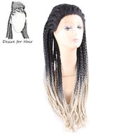 Desire for hair 30inch long heat resistant synthetic braided box braids lace front wigs for black woman ombre black blonde color