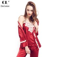 cb97b9f34c963 CherLemon 3 pièces Pyjama ensembles femmes Satin vêtements de nuit rouge  Sexy dentelle Patchwork Camisole et