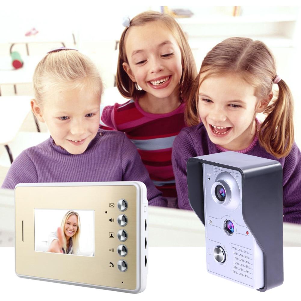4.3 Inch Door Phone Doorbell Intercom Kit 1 Camera 1 Monitor Night Vision Electric lock Free Shipping 2017New