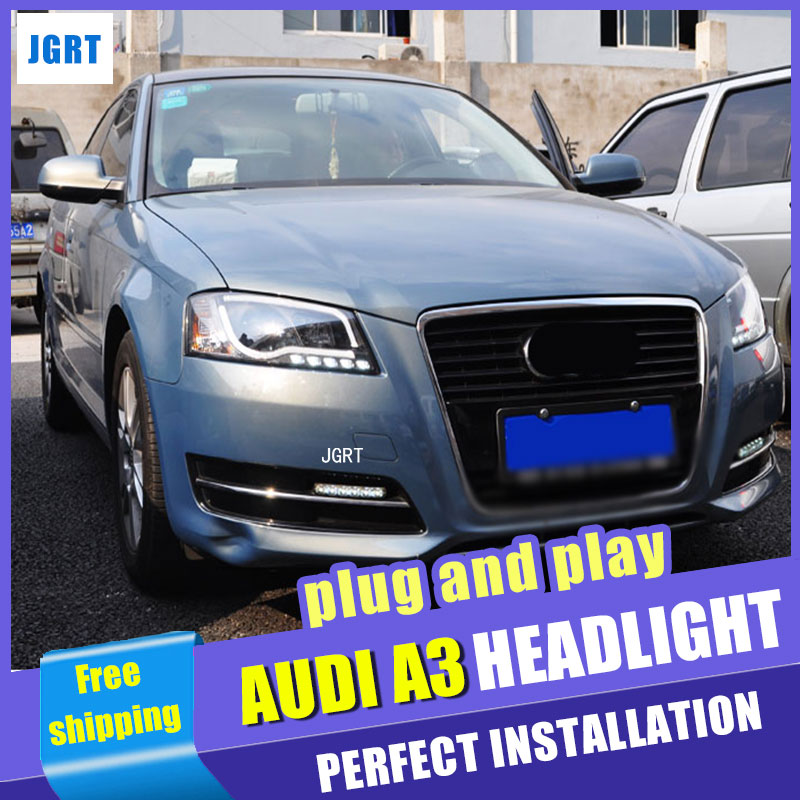 Car Styling 2008-2012 for Audi A3 Headlight assembly DoubleU Angel Eye LED DRL Lens Double Beam H7 hid kit with 2pcs. hireno headlamp for 2003 2009 toyota land cruiser prado headlight assembly led drl angel lens double beam hid xenon 2pcs
