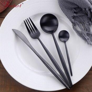 1 лот/4 шт Роскошные корейские черные столовые приборы 18/10 нержавеющая сталь столовые ножи вилки ресторан столовая посуда наборы суши черная...