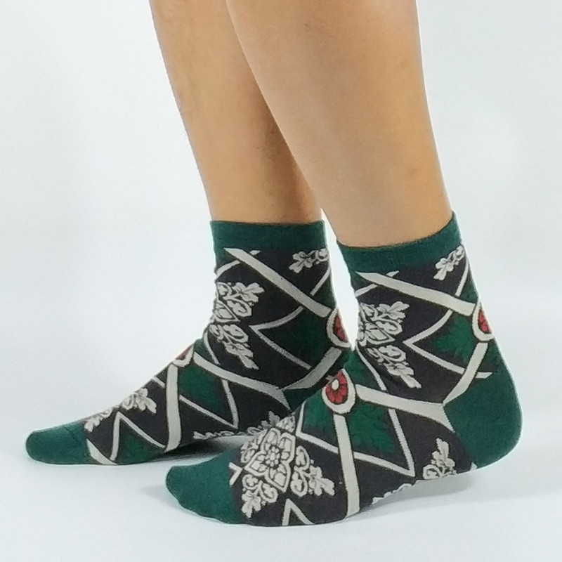 Mens Japanese Pattern Socks USA Size 7-9, Europe Size 40-42, 25-27cm ( Non Cotton Thin)