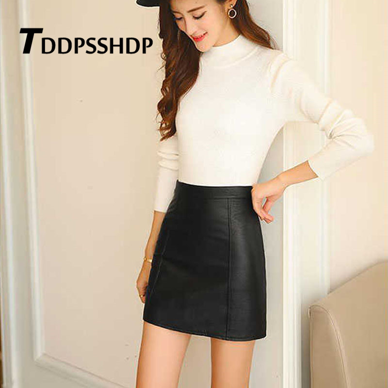 Women Solid PU Faux Leather Skirt 2019 Spring Black Color Mini Streetwear Female Skirts