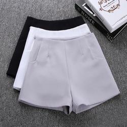 Женские шорты с высокой талией, черные и белые повседневные шорты, шорты, шорты для лета, 2019
