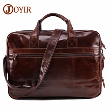 JOYIR Men's Briefcase Tote men messenger bag travel laptop bag for men document business Leather briefcase male Genuine leather