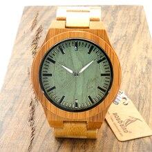 Lo nuevo Pájaro Bobo Marca D20 de Bambú de Madera Del Reloj Relojes de Cuarzo Correas para Hombres Regalos de Navidad Reloj Superior de la Marca de Madera De bambú de lujo