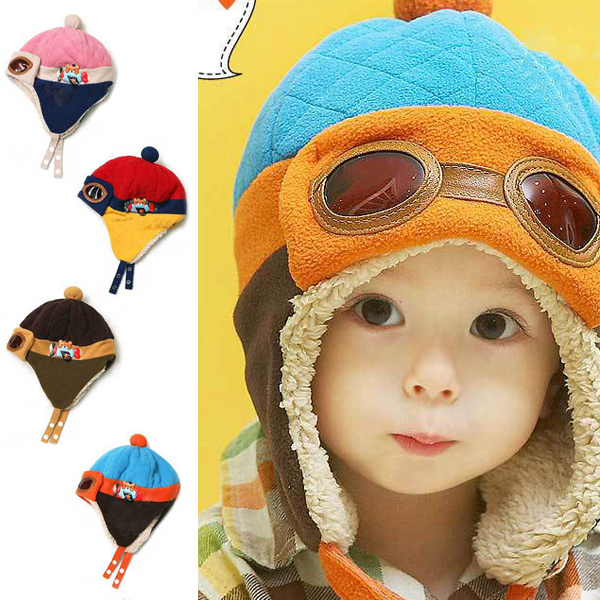 Toddlers Cool Baby Boy Girl Kids Infant Winter Pilot Warm Cap Hat Beanie 4  Colors 525aa6f2051