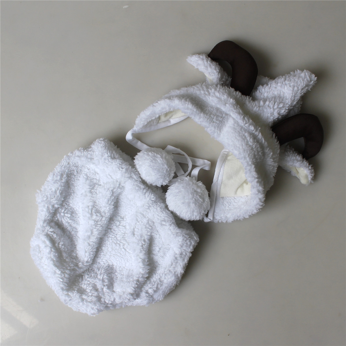 Image 5 - Fashion White Baby Girl Boy Photo Costumes Clothes Newborn Pictures Clothing Animal Sheep Goat Set Outfits    -