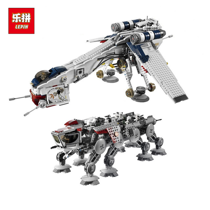 Lepin Star Series wars 05053 1788Pcs Wars the Republic Dropship with AT-OT Walker Model Building Blocks Bricks model Toy 10195 lepin 05053 1788pcs star series wars republic dropship with at ot walker building blocks bricks set compatible 10195 toys