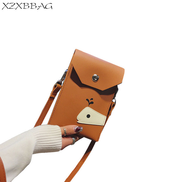 edfcecb6d6f0 XZXBBAG Women PU Leather Messenger Bags Mini Cell Phone Pocket Cellphone  Pouch Students Crossbody Case Girl Small Shoulder Bags
