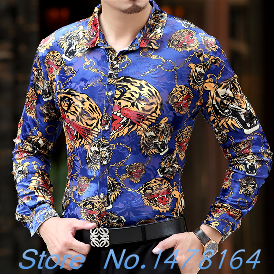 Fit Dargon Chemise Club camisa Slim barroco de Camisas en de lujo seda Hombre Hombre Floral negro camisa 2018 para maduro Tigre Hombre Camisas de oro de xznU0HxwZT