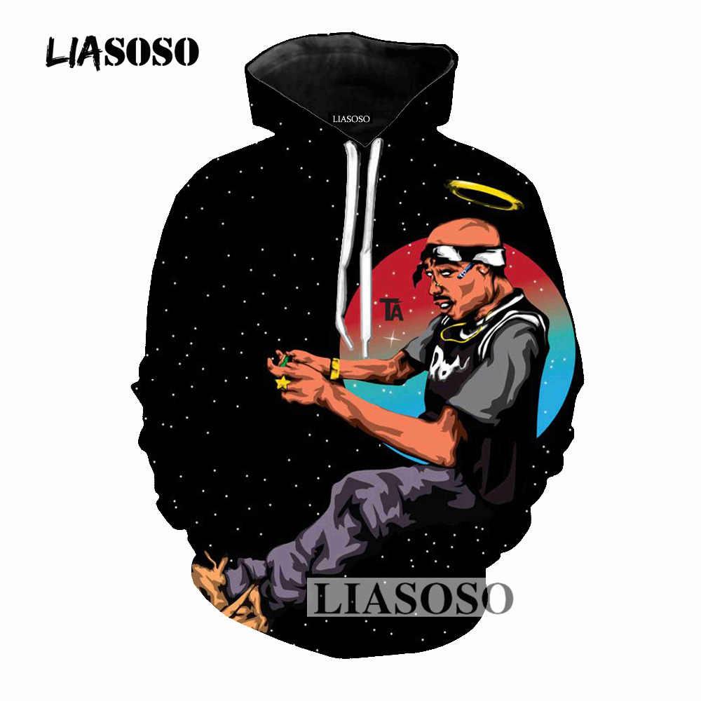 LIASOSO Hot Sale Cool Pullover Hoodies 3D estampado rapero 2pac Hoodies Hip Hop con capucha Casual manga larga sudadera ropa T669
