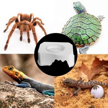 1pc Small Reptile Pets Feeding Bowl Gecko Snake Ceratophrys Dodging Box With Water Basin Cave Climbing Box Landscaping Dropship