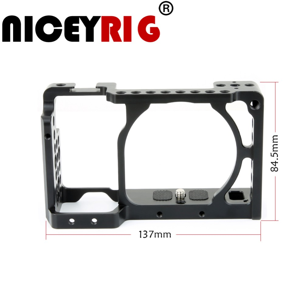 NICEYRIG for SONY A6500 A6300 A6000 ILCE-6500 ILCE-6300 ILCE-6000 NEX7 DSLR Camera Cage Built-in Cold Shoe Rail Lightweight waraxe a6 camera cage for sony ilce 6000 ilce 6300 ilce a6500 with 1 4 and 3 8 threaded holes cold shoe base free shipping