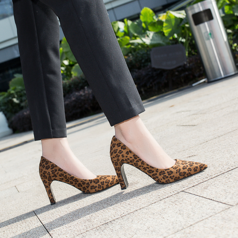 Peu Tête Chaussures Bureau Léopard 8 Femmes Pompes Femme Cm Pointu 35 Haute Jaune 43 Mujer Confortable Profonde Flock kaki Talons 2019 Zapatos Taille Z5xqf0OO