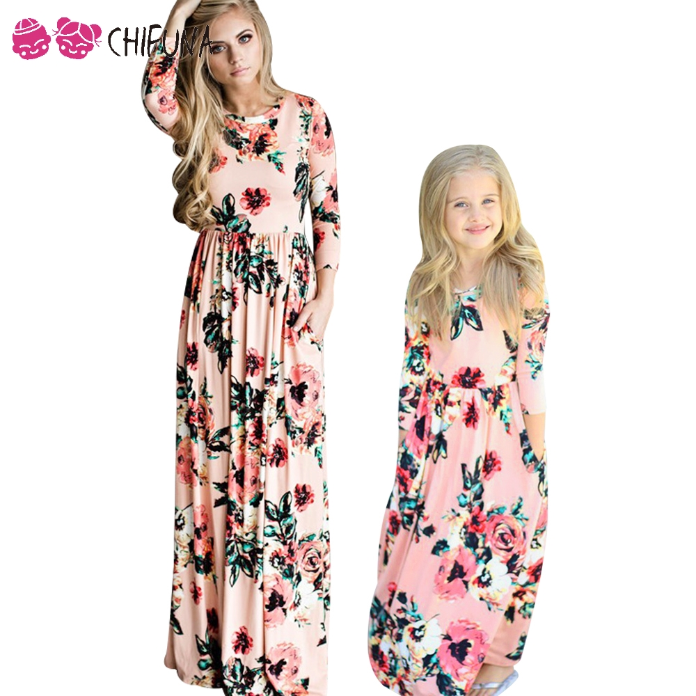 chifuna Mother Daughter Bohemian Maxi Dress Family Matching Outfits 2017 Fashion Mommy and Me Floral Long