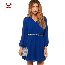 2016 Summer Women Dress Long Sleeve Waist Elastic Chiffon Brief Casual Dress For Women Plus Size Party Dresses vestidos NC-406