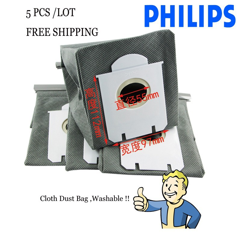 5-Piece/LOT  washable  Dust Bag for Philips S-bag Vacuum Cleaner FC8244 FC9017 FC9073 FC9102 FC9122 HR8532 HR8565 dust bags 10pcs washable vacuum cleaner bags dust bag replacement for philips fc8134 fc8613 fc8614 fc8220 fc8222 fc8224 fc8200 free post