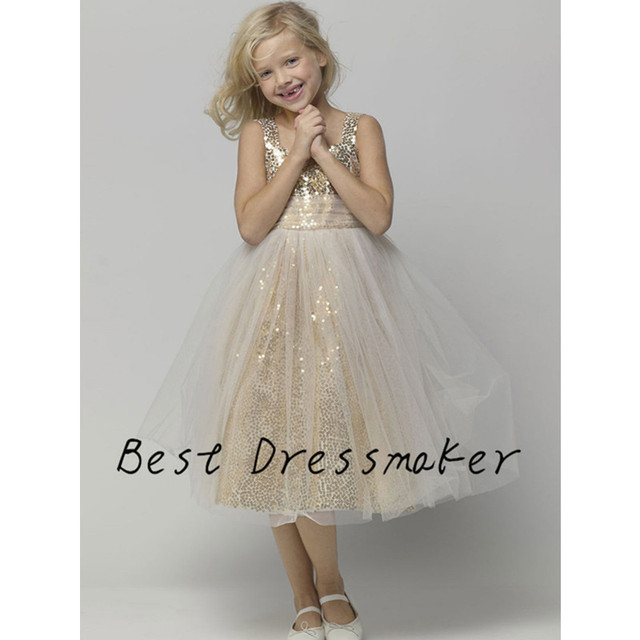 Super Cute Flower Girl Dresses For Wedding Kids Pageant Gowns Bling  Birthday Party First Communion Dresses For Girls Customized 75292447c6a9