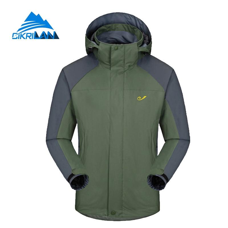 ФОТО Hot Sale New Hiking 3-in-1 With Detachable Fleece Inner Jacket Men Warm Windstopper Winter Coat Camping Outdoor Doudoune Homme