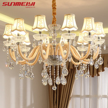 hot deal buy new luxury k9 crystal chandeliers bedroom lustres para sala de jantar cristal chandeliers lighting ceiling wedding decoration