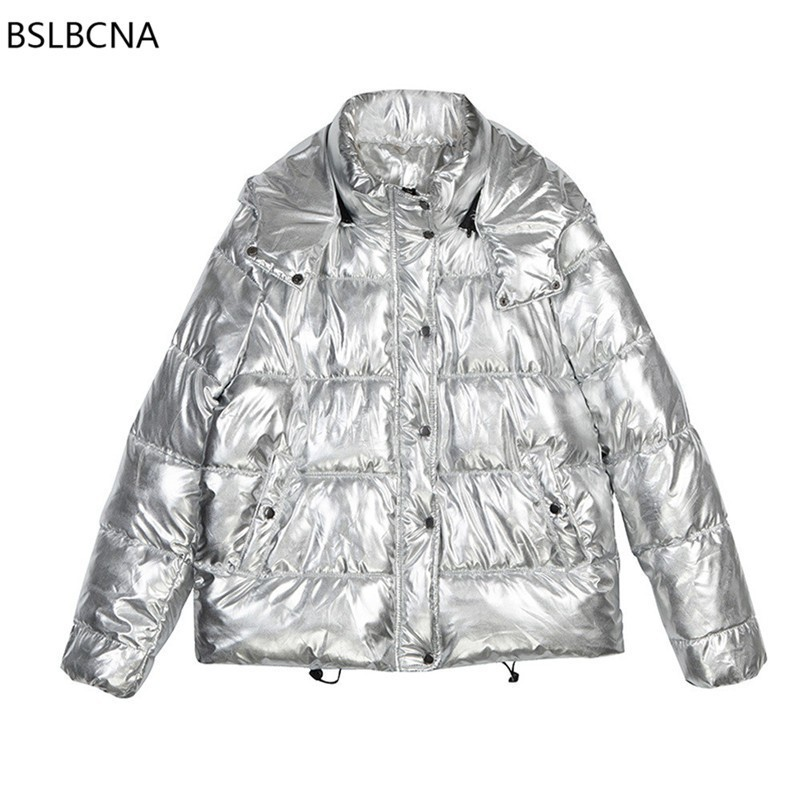 2018 Winter Jacket Women New Korean Style Bright Silver Gray Fashion Hat Short Coat Female Casual White Duck Down Clothes A535 Clear-Cut Texture Women's Clothing