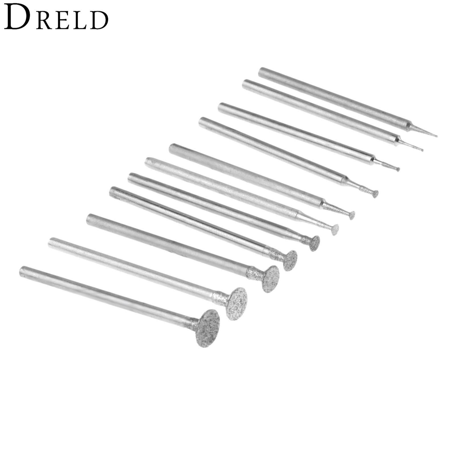 DRELD 11Pcs 2.35mm Shank Carborundum Electric Polishing Grinding Head Buffing Polishing Wheel For Dremel Rotary Tools H Needle