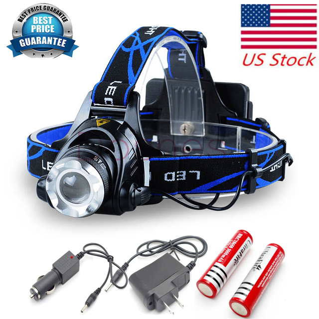 CREE XML T6 LED Headlight Headlamp Torch Flashlight Zoomable 6000lm 2 x Rechargeable 18650 Battery charger  Waterproof Design