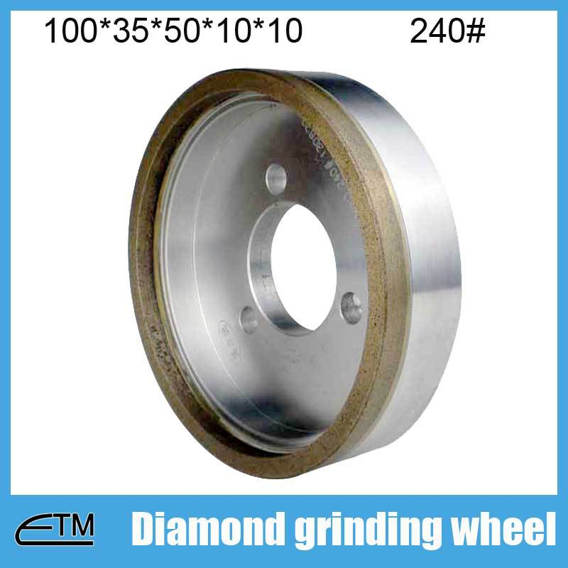 10pcs 3# full rim grinding wheel for glass edging metal bond diamond abrasive 100*35*50*10*10 grit 240# BL018 metal bond 10pcs 3 diamond grinding cup