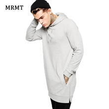 New Arrival Fashion Men's Long Grey Hoodies Sweatshirts Feece With Side Zipper Longline Hip Hop Streetwear Shirt Tops Longline(China)