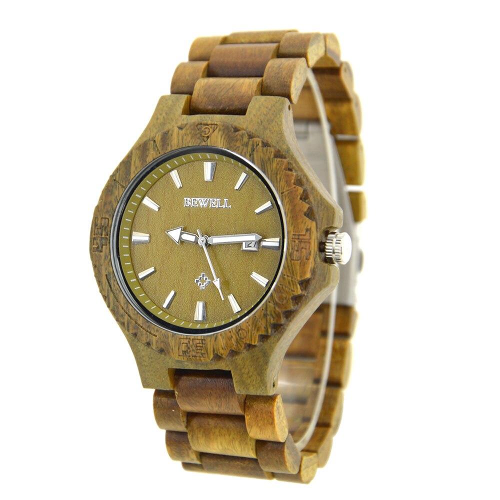ФОТО BEWELL Men Wood Watch Relogio Masculino Top Brand Luxury Quartz Wristwatch with Calendar Three Hands 023C