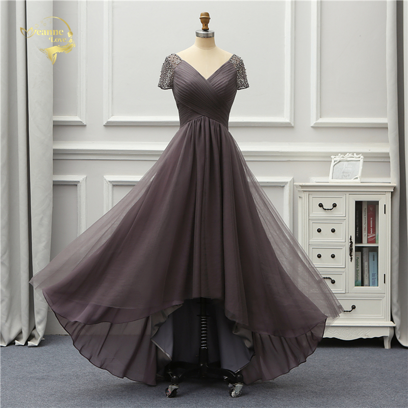 Jeanne Love Luxury Evening Dress New Arrival Front Short Long Back Short Sleeves Party Robe De Soiree Vestido De Festa OL5232 2