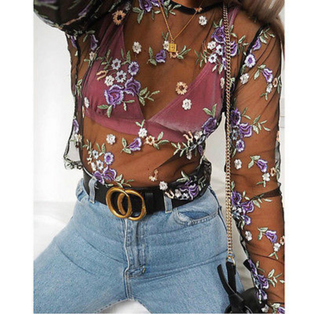 642dd243fc0 Women s Summer Sexy Mesh Sheer Flower Embroidery Long Sleeve Shirt Blouse  Tops Club Party Clubwear Outfit Sunsuit Shirts Top NEW