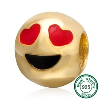 ChaWin Gold Plated 925 Sterling Silver QQ Emoji Face Anthomaniac Beads Fits Pandora Charms Bracelets Necklaces