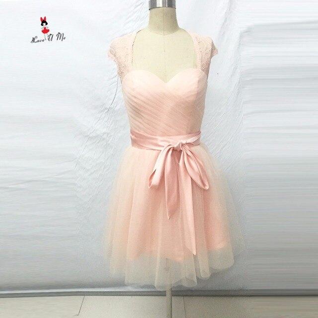 c6b4149c6 2017 Coral de Blush Rosa Da Dama de Honra Vestidos Curto Lace Tulle Barato  Vestido De