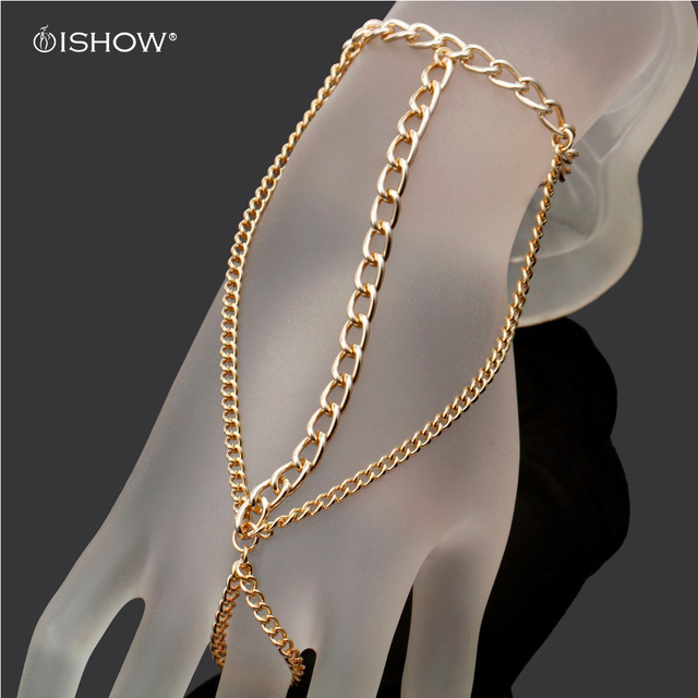 Pulseira Jewelry Imitation Gold Chain Linked Bracelet Elegant Finger Loop Women S Wire Harness Hand