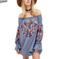 Blau Schulterfrei Stickerei Blumen Denim Mini Kleid Frauen Lange Aufflackernhülse Beiläufige Gerade Vintage Sommer High Street Tragen