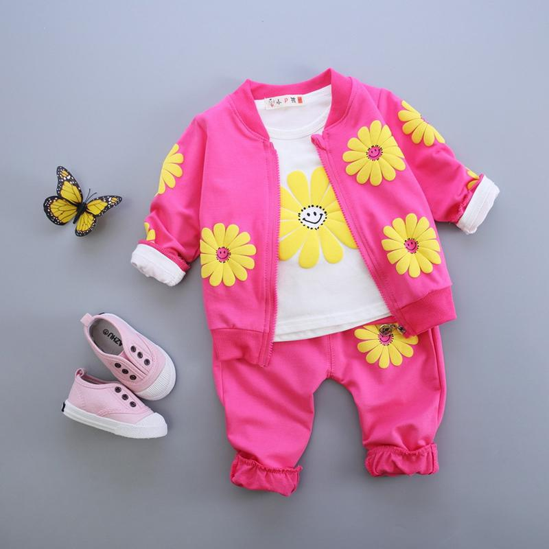 Spring Autumn Girls Clothing Set 2017 New Casual 1 2 3 4 Year Baby Girls Clothes Long Sleeve Coat Shirts Pants Toddlers Suits keaiyouhuo newborn baby spring autumn girls clothes set rabbit cotton coat pants 2pcs set kid 0 2y girls pure clothes clothing