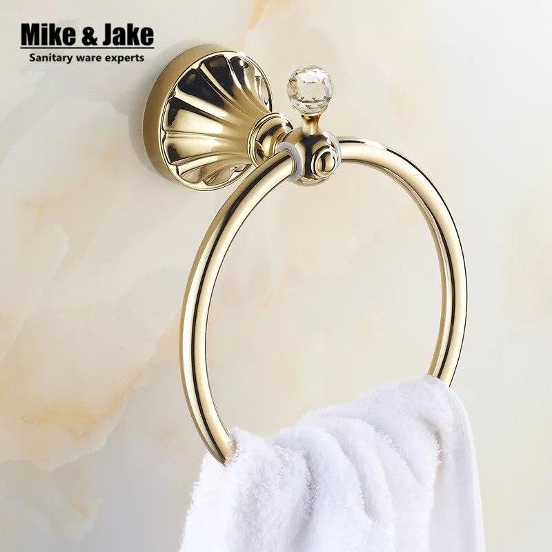 Comprar Oro titular de baño anillo toalla cristal sostenedor de la toalla, barra de toalla accesorios de baño toalla de accessories scarf fiable proveedores en Mike&Jake Official Store