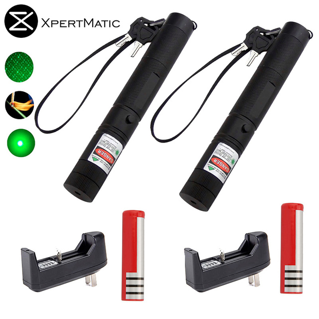 XpertMatic 2pcs Military 532nm 5mw 303 Laser Pointer Power Green Laser Pointer Pen Burning Beam +18650 Battery+Charger